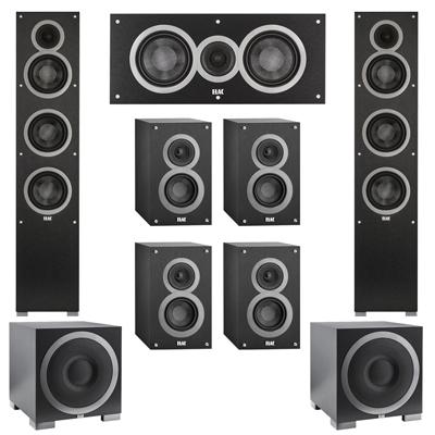 Elac 72 System With 2 Debut F5 Floorstanding Speakers 1 C5 Center Speaker 4 B4 Bookshelf S12EQ Subwoofer
