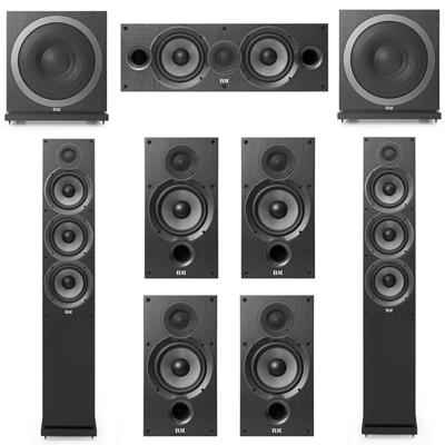 Elac 7.2 System with 2 F6.2 Floorstanding Speakers, 1 C6.2 Center Speaker, 4 B6.2 Bookshelf Speakers 2 Elac SUB3010 Subwoofers