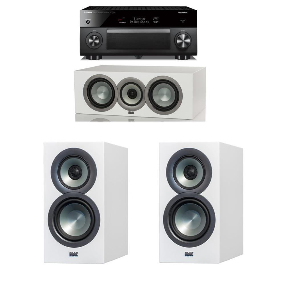ELAC Uni Fi Slim White 30 System With 2 BS U5 Bookshelf Speakers 1 CC Center Speaker Yamaha RX A2070 A V Receiver