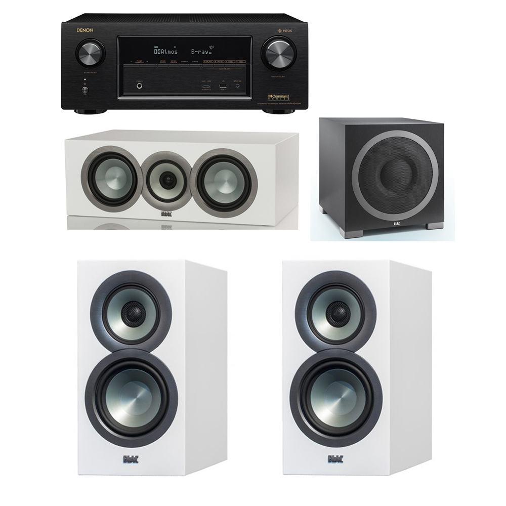 ELAC Uni Fi Slim White 31 System With 2 BS U5 Bookshelf Speakers 1 CC Center Speaker Debut S12EQ Powered Subwoofer