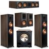 Klipsch 5.1 Walnut System 2 RP-8000F,1 RP-504C,2 RP-600M,FREE PL-200II Sub