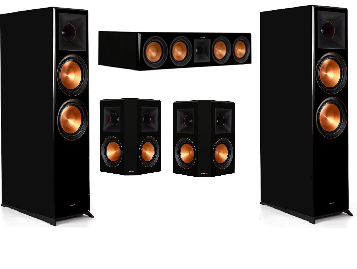 Klipsch RP-8060FA 5.0 Home Theater System- Piano Black Bundle with 1 RP-504C and 2 RP502s