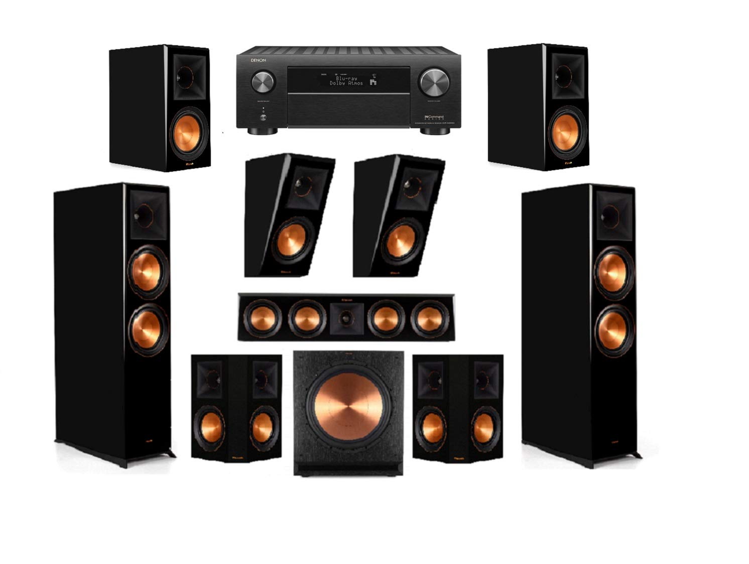Klipsch RP-8060FA Piano Black 7.1.2 Dolby Atmos Home Theater System with AVR-X4500H Receiver