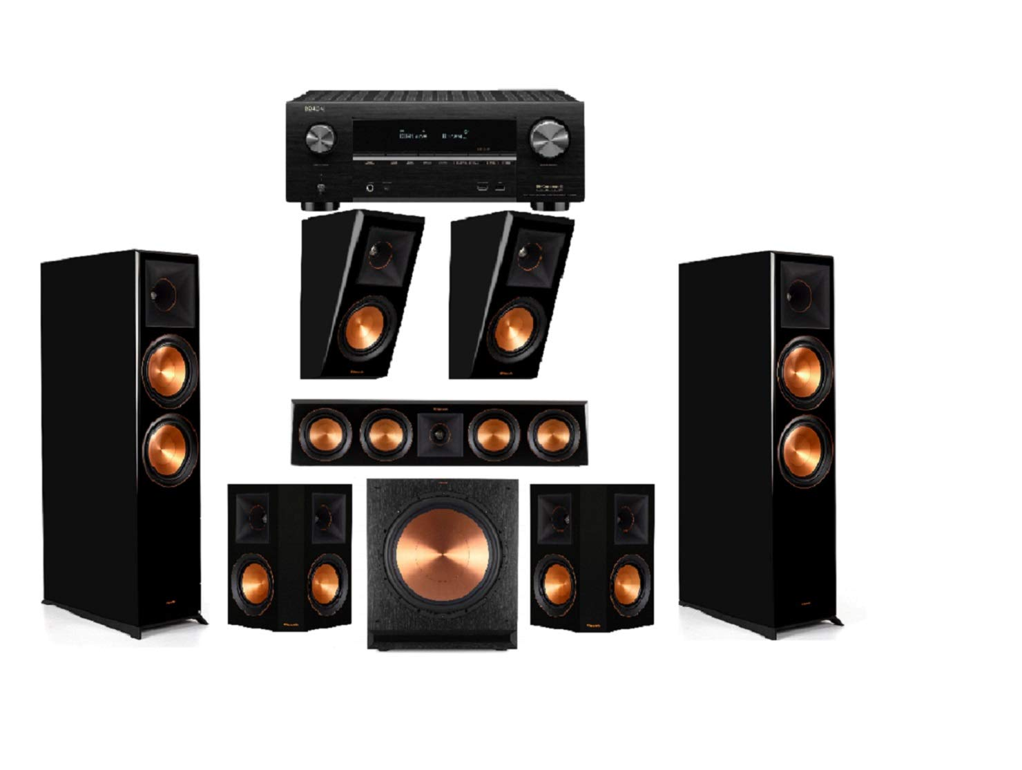 Klipsch RP-8060FA Piano Black 5.1.2 Dolby Atmos Home Theater System with AVR-X3500H Receiver