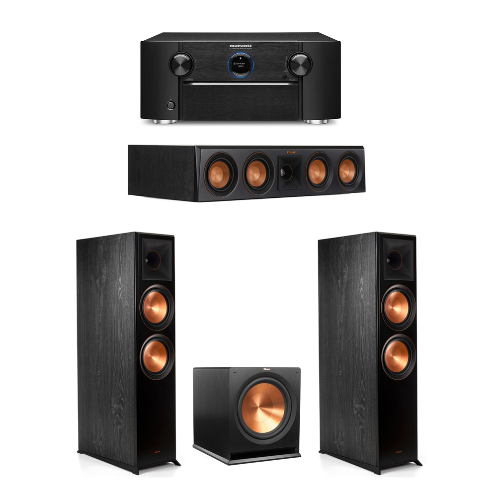 Klipsch 3.1 System with 2 RP-8000F Floorstanding Speakers, 1 Klipsch RP-404C Center Speaker, 1 Klipsch R-115SW Subwoofer, 1 Marantz SR7012 A/V Receiver