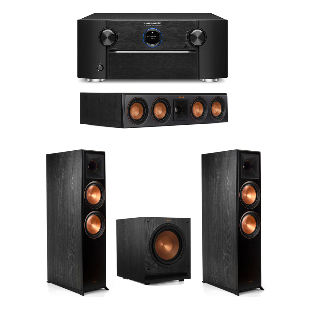 Klipsch 3.1 System with 2 RP-8000F Floorstanding Speakers, 1 Klipsch RP-404C Center Speaker, 1 Klipsch SPL-100 Subwoofer, 1 Marantz SR7012 A/V Receiver