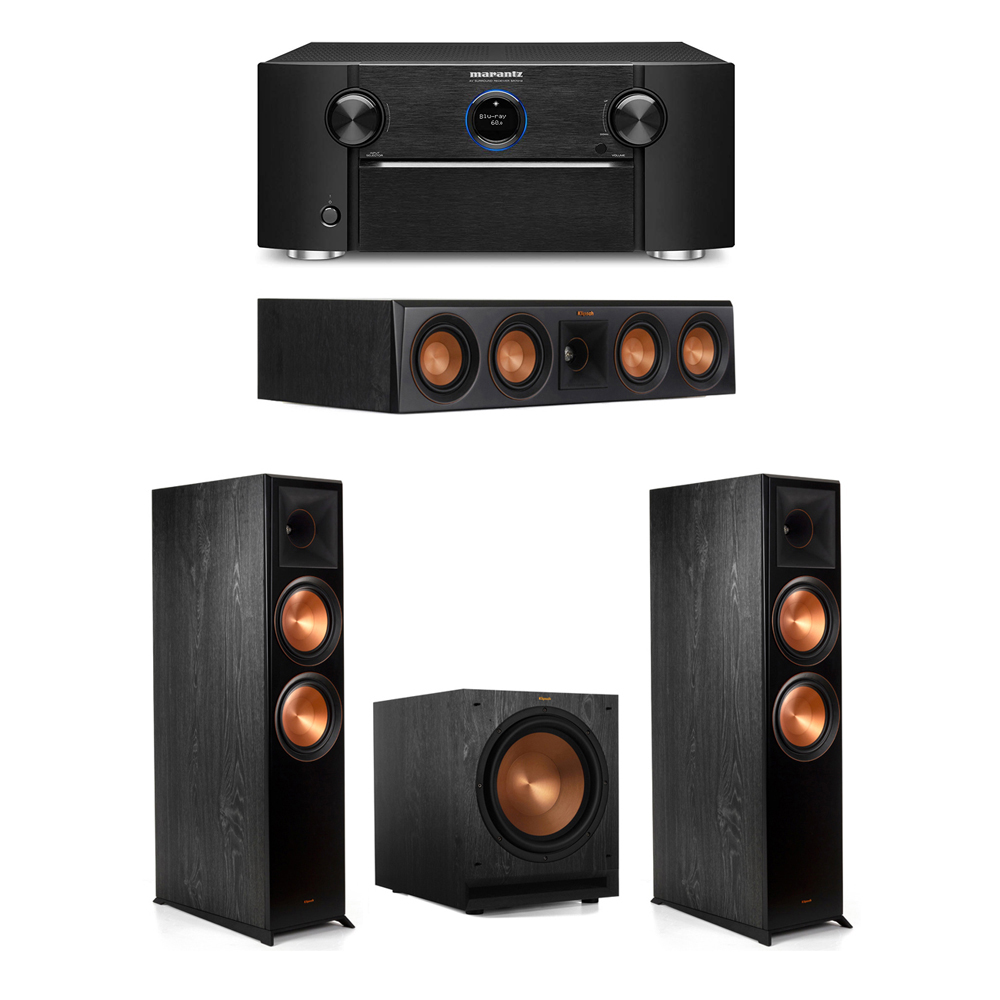 Klipsch 3.1 System with 2 RP-8000F Floorstanding Speakers, 1 Klipsch RP-404C Center Speaker, 1 Klipsch SPL-120 Subwoofer, 1 Marantz SR7012 A/V Receiver
