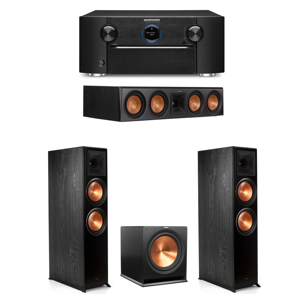 Klipsch 3.1 System with 2 RP-8000F Floorstanding Speakers, 1 Klipsch RP-504C Center Speaker, 1 Klipsch R-115SW Subwoofer, 1 Marantz SR7012 A/V Receiver