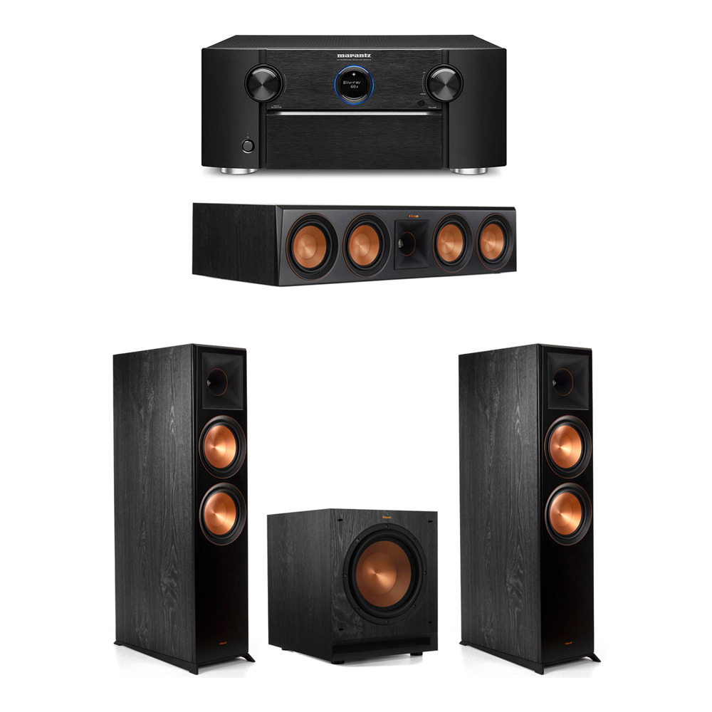 Klipsch 3.1 System with 2 RP-8000F Floorstanding Speakers, 1 Klipsch RP-504C Center Speaker, 1 Klipsch SPL-100 Subwoofer, 1 Marantz SR7012 A/V Receiver