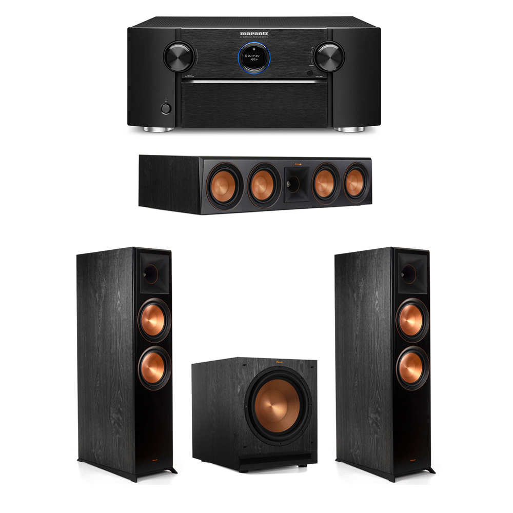 Klipsch 3.1 System with 2 RP-8000F Floorstanding Speakers, 1 Klipsch RP-504C Center Speaker, 1 Klipsch SPL-120 Subwoofer, 1 Marantz SR7012 A/V Receiver