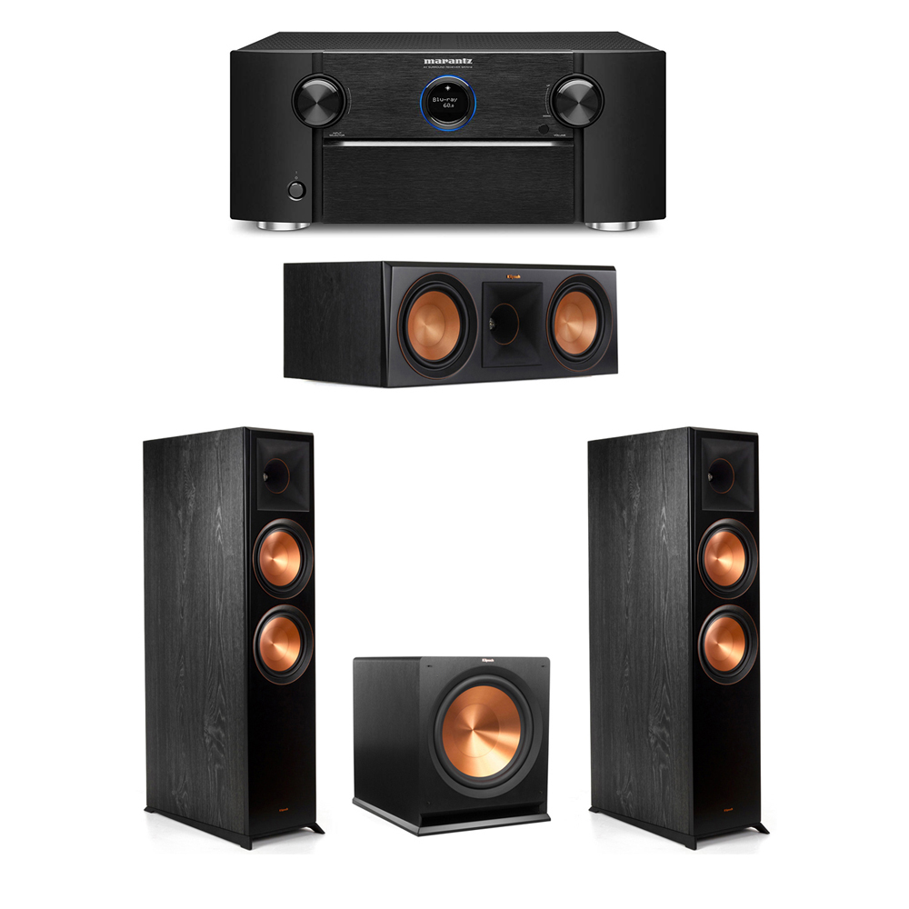 Klipsch 3.1 System with 2 RP-8000F Floorstanding Speakers, 1 Klipsch RP-600C Center Speaker, 1 Klipsch R-115SW Subwoofer, 1 Marantz SR7012 A/V Receiver