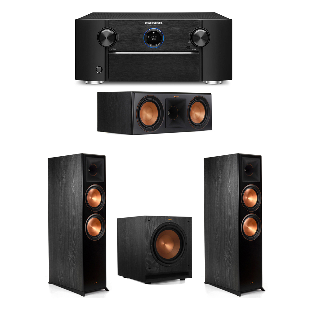 Klipsch 3.1 System with 2 RP-8000F Floorstanding Speakers, 1 Klipsch RP-600C Center Speaker, 1 Klipsch SPL-100 Subwoofer, 1 Marantz SR7012 A/V Receiver