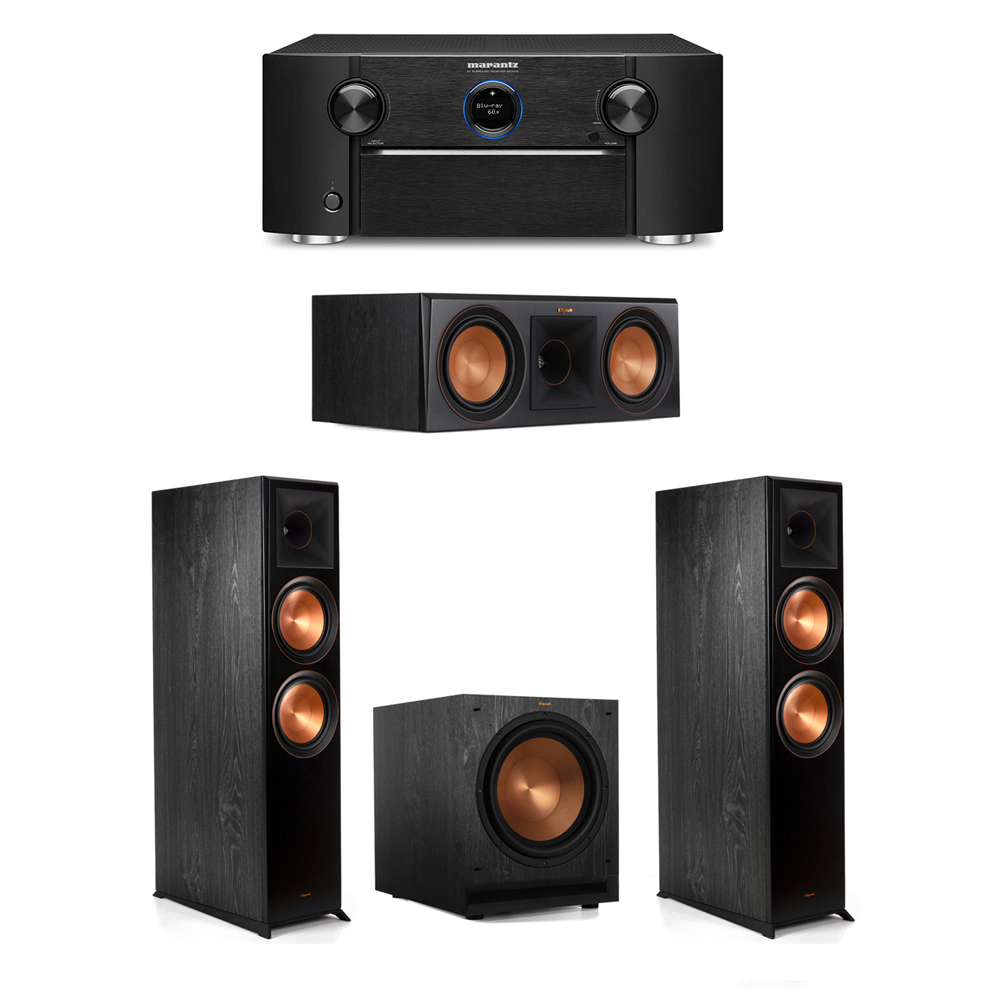 Klipsch 3.1 System with 2 RP-8000F Floorstanding Speakers, 1 Klipsch RP-600C Center Speaker, 1 Klipsch SPL-120 Subwoofer, 1 Marantz SR7012 A/V Receiver