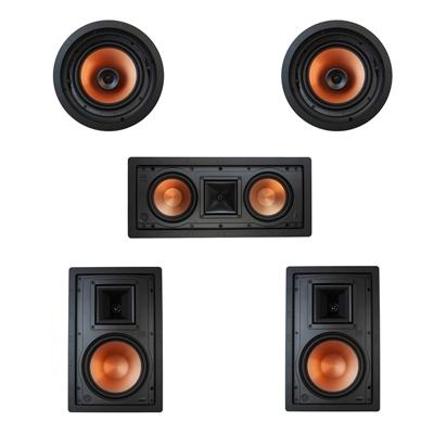 Klipsch 5.0 In-Wall System with 2 R-3800-W II In-Wall Speakers, 1 Klipsch R-5502-W II In-Wall Speaker, 2 Klipsch CDT-3800-C II In-Ceiling Speakers