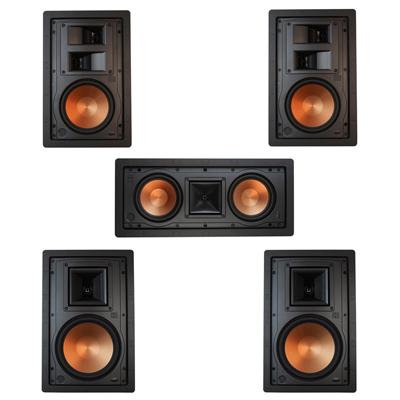 Klipsch 5.0 In-Wall System with 2 R-5800-W II In-Wall Speakers, 1 Klipsch R-5502-W II In-Wall Speaker, 2 Klipsch R-5650-S II In-Wall Speakers