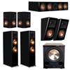 Klipsch 5.1.2 Piano Black System with 2 RP-8060FA, 1 RP-504C, 2 RP-502S, 2 RP-500SA, 1 PL-200II