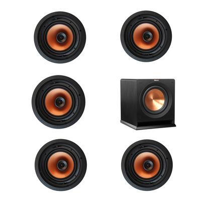 Klipsch 5.1 In-Wall System with 5 CDT-3800-C II In-Ceiling Speakers, 1 Klipsch R-110SW Subwoofer