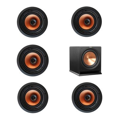Klipsch 5.1 In-Wall System with 5 CDT-3800-C II In-Ceiling Speakers, 1 Klipsch R-112SW Subwoofer