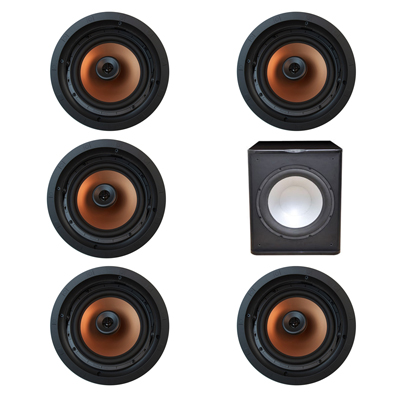 Klipsch 5.1 In-Wall System with 5 CDT-5800-C II In-Ceiling Speakers, 1 Premier Acoustic PA-150 Subwoofer