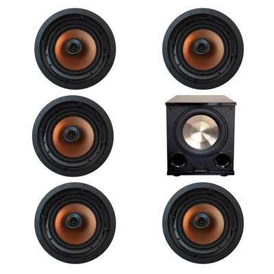 Klipsch 5.1 In-Wall System with 5 CDT-5800-C II In-Ceiling Speakers, 1 BIC/Acoustech PL-200 II Subwoofer
