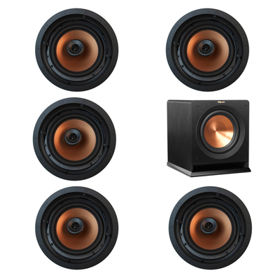 Klipsch 5.1 In-Wall System with 5 CDT-5800-C II In-Ceiling Speakers, 1 Klipsch R-110SW Subwoofer