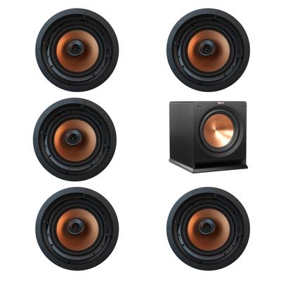 Klipsch 5.1 In-Wall System with 5 CDT-5800-C II In-Ceiling Speakers, 1 Klipsch R-112SW Subwoofer