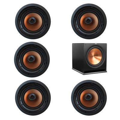 Klipsch 5.1 In-Wall System with 5 CDT-5800-C II In-Ceiling Speakers, 1 Klipsch R-115SW Subwoofer