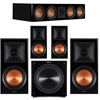 Klipsch 5.1 Piano Black System with 2 RP600M, 1 RP504C, 2 RP600M, 1 C310ASWI
