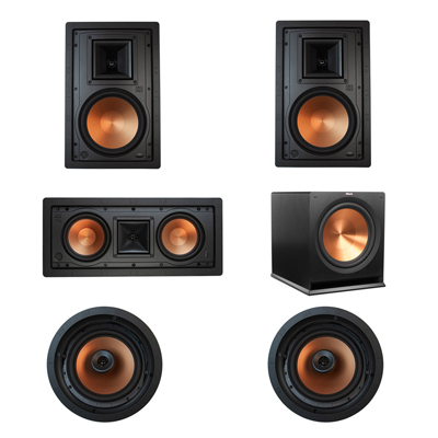 Klipsch 5.1 In-Wall System with 2 R-5800-W II In-Wall Speakers, 1 Klipsch R-5502-W II In-Wall Speaker, 2 Klipsch CDT-5800-C II , 1 Klipsch R-115SW Subwoofer