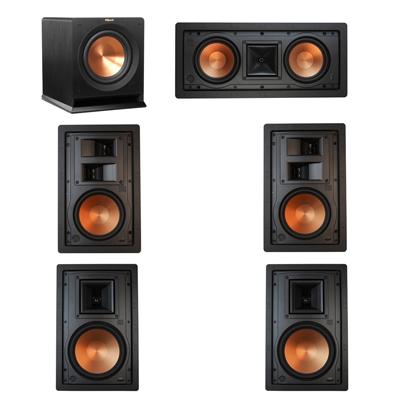 Klipsch 5.1 In-Wall System with 2 R-5800-W II In-Wall Speakers, 1 Klipsch R-5502-W II In-Wall Speaker, 2 Klipsch R-5650-S II In-Wall Speakers, 1 Klipsch R-110SW Subwoofer