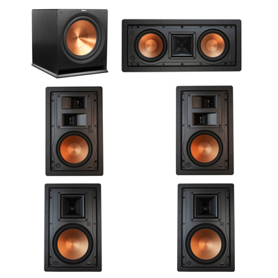Klipsch 5.1 In-Wall System with 2 R-5800-W II In-Wall Speakers, 1 Klipsch R-5502-W II In-Wall Speaker, 2 Klipsch R-5650-S II In-Wall Speakers, 1 Klipsch R-115SW Subwoofer