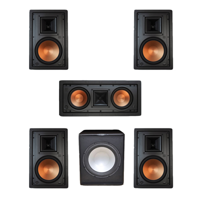 Klipsch 5.1 In-Wall System with 2 R-5800-W II In-Wall Speakers, 1 Klipsch R-5502-W II In-Wall Speaker, 2 R-5800-W II In-Wall Speakers, 1 Premier Acoustic PA-150 Subwoofer