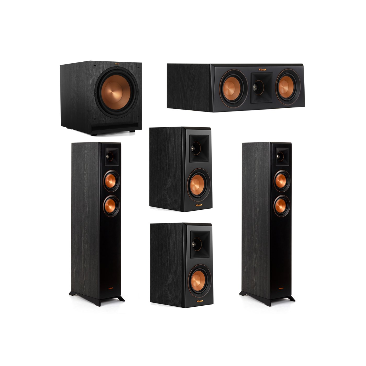 Klipsch 5.1 System with 2 RP-4000F Floorstanding Speakers, 1 Klipsch RP-400C Center Speaker, 2 Klipsch RP-400M Surround Speakers, 1 Klipsch SPL-120 Subwoofer