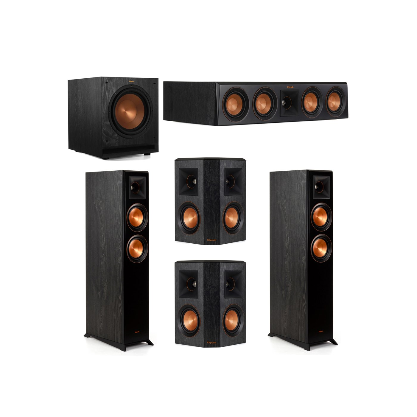 Klipsch 5.1 System with 2 RP-5000F Floorstanding Speakers, 1 Klipsch RP-404C Center Speaker, 2 Klipsch RP-402S Surround Speakers, 1 Klipsch SPL-100 Subwoofer
