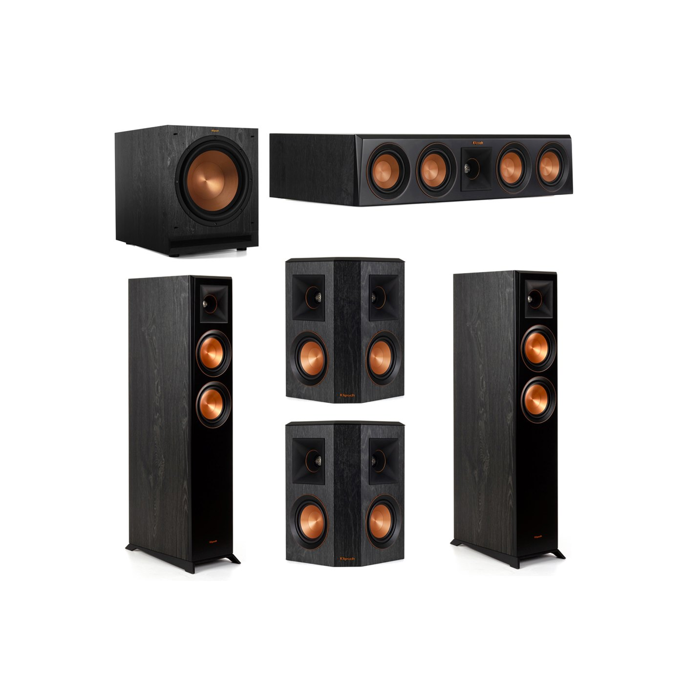 Klipsch 5.1 System with 2 RP-5000F Floorstanding Speakers, 1 Klipsch RP-404C Center Speaker, 2 Klipsch RP-402S Surround Speakers, 1 Klipsch SPL-120 Subwoofer
