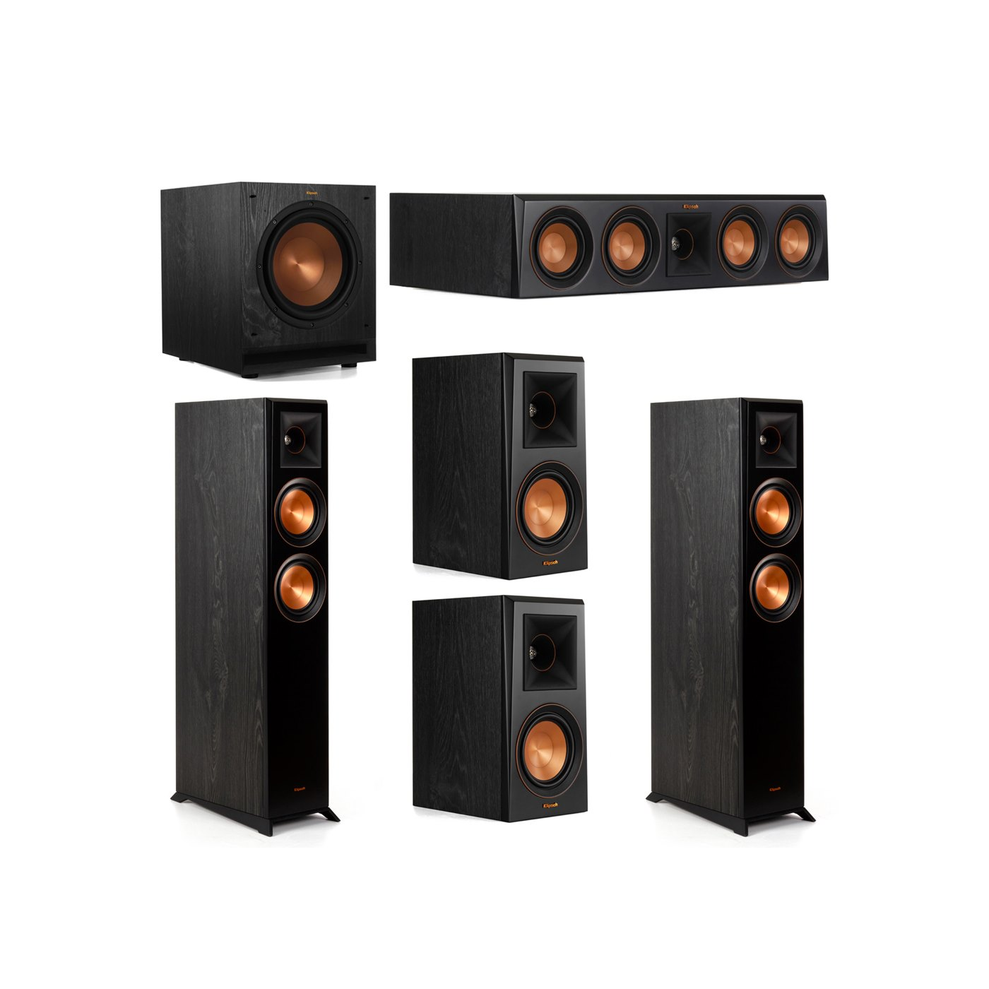 Klipsch 5.1 System with 2 RP-5000F Floorstanding Speakers, 1 Klipsch RP-404C Center Speaker, 2 Klipsch RP-500M Surround Speakers, 1 Klipsch SPL-100 Subwoofer