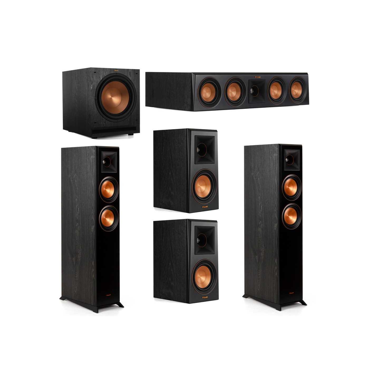 Klipsch 5.1 System with 2 RP-5000F Floorstanding Speakers, 1 Klipsch RP-404C Center Speaker, 2 Klipsch RP-500M Surround Speakers, 1 Klipsch SPL-120 Subwoofer