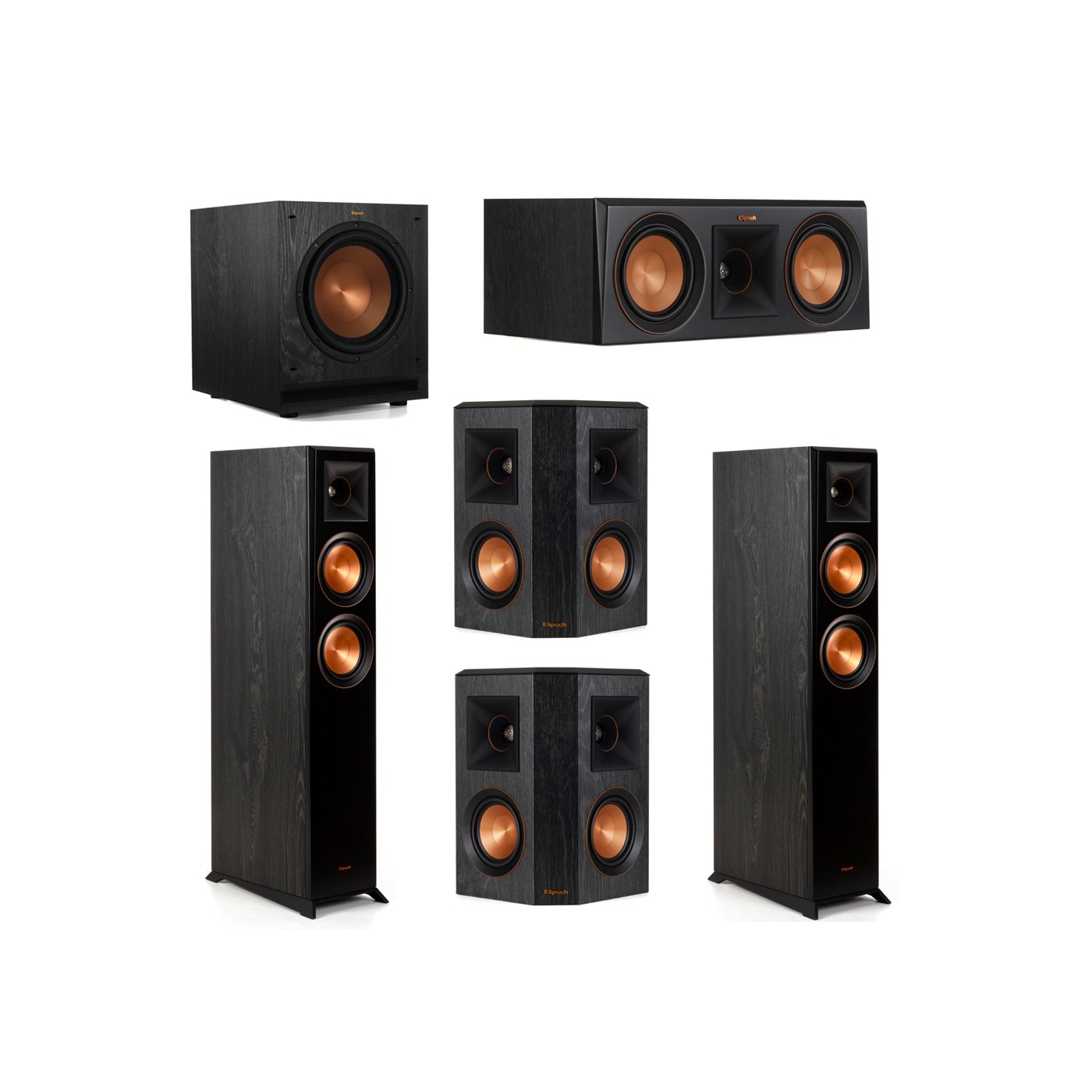 Klipsch 5.1 System with 2 RP-5000F Floorstanding Speakers, 1 Klipsch RP-500C Center Speaker, 2 Klipsch RP-402S Surround Speakers, 1 Klipsch SPL-100 Subwoofer