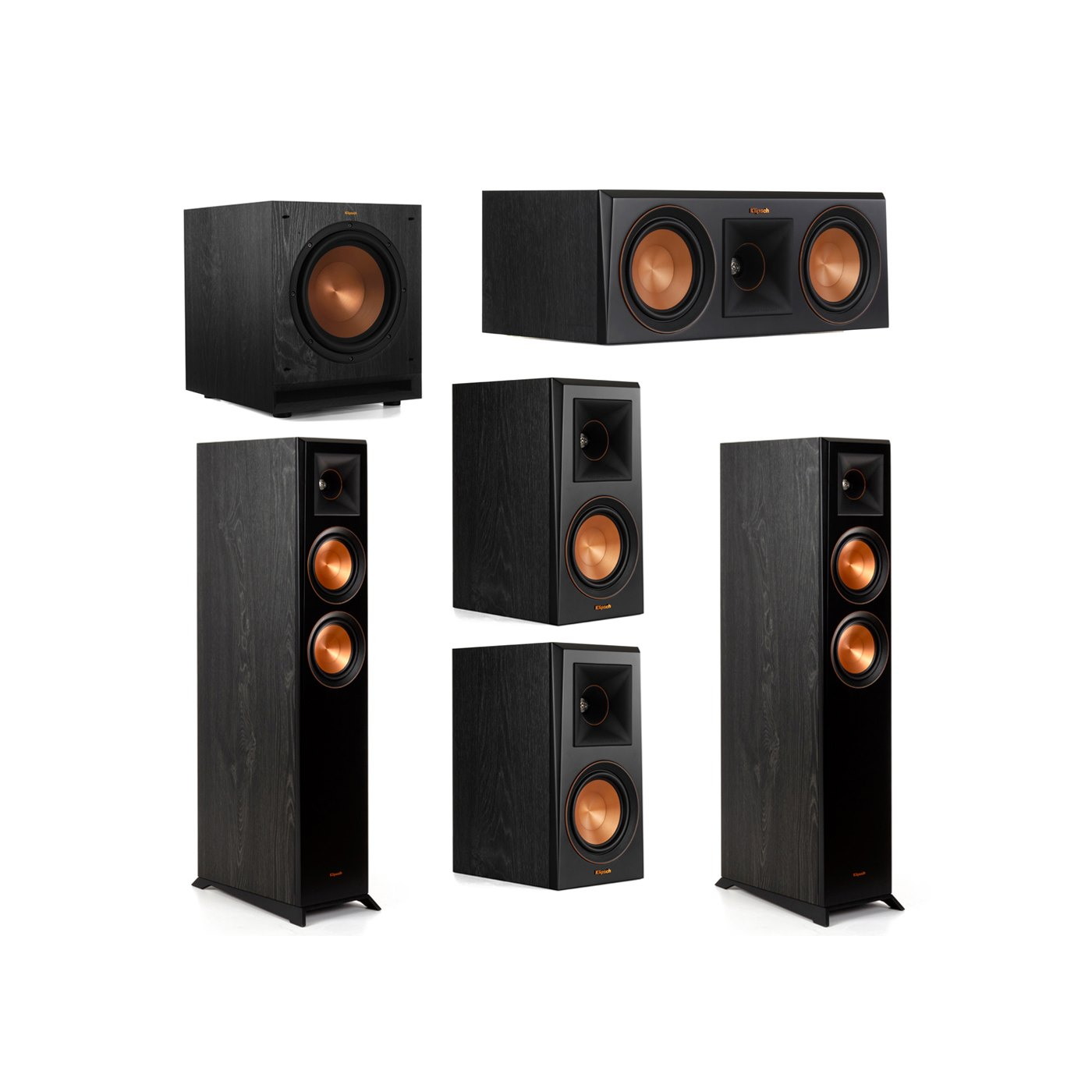 Klipsch 5.1 System with 2 RP-5000F Floorstanding Speakers, 1 Klipsch RP-500C Center Speaker, 2 Klipsch RP-500M Surround Speakers, 1 Klipsch SPL-100 Subwoofer