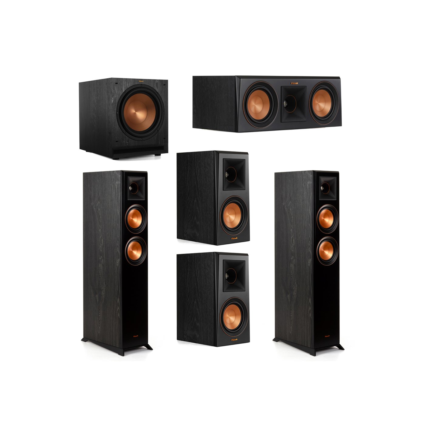 Klipsch 5.1 System with 2 RP-5000F Floorstanding Speakers, 1 Klipsch RP-500C Center Speaker, 2 Klipsch RP-500M Surround Speakers, 1 Klipsch SPL-120 Subwoofer