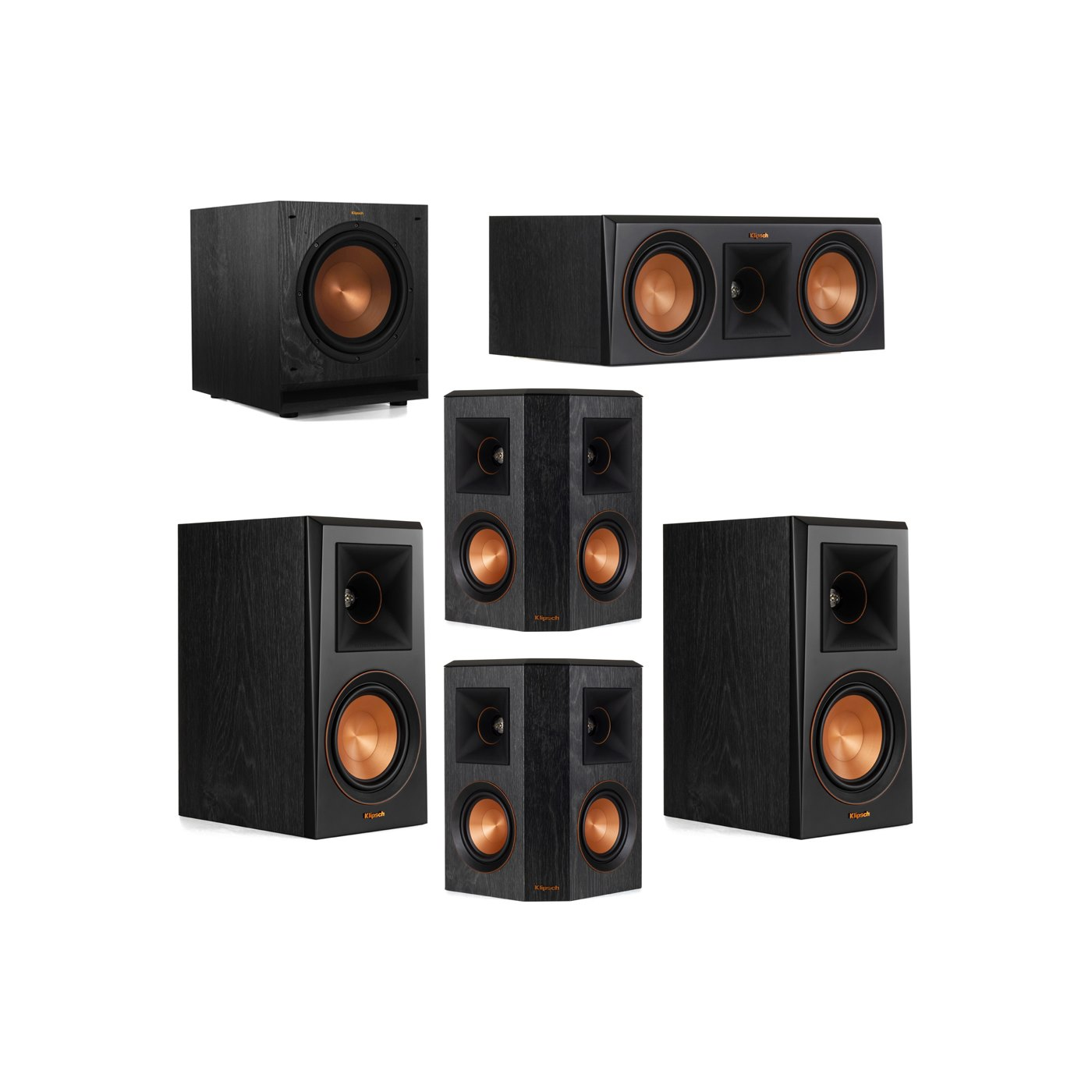 Klipsch 5.1 System with 2 RP-500M Bookshelf Speakers, 1 Klipsch RP-500C Center Speaker, 2 Klipsch RP-402S Surround Speakers, 1 Klipsch SPL-100 Subwoofer