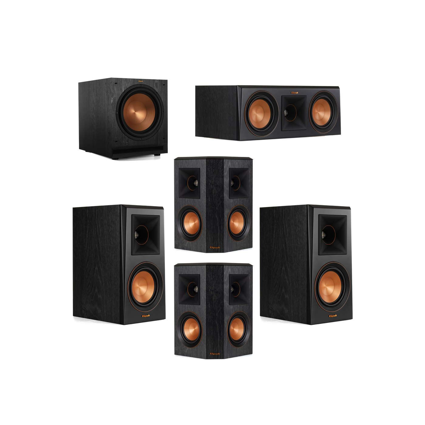 Klipsch 5.1 System with 2 RP-500M Bookshelf Speakers, 1 Klipsch RP-500C Center Speaker, 2 Klipsch RP-402S Surround Speakers, 1 Klipsch SPL-120 Subwoofer