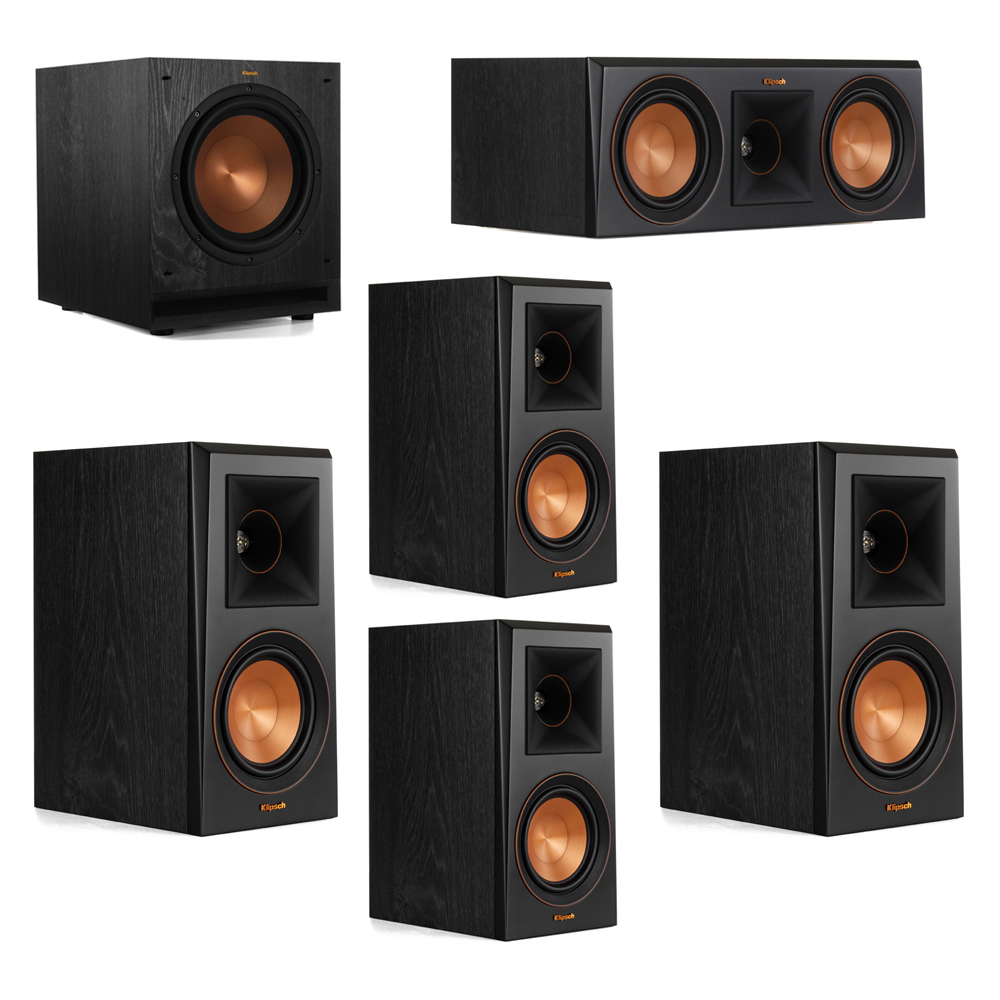 Klipsch 5.1 System with 2 RP-500M Bookshelf Speakers, 1 Klipsch RP-500C Center Speaker, 2 Klipsch RP-500M Surround Speakers, 1 Klipsch SPL-100 Subwoofer
