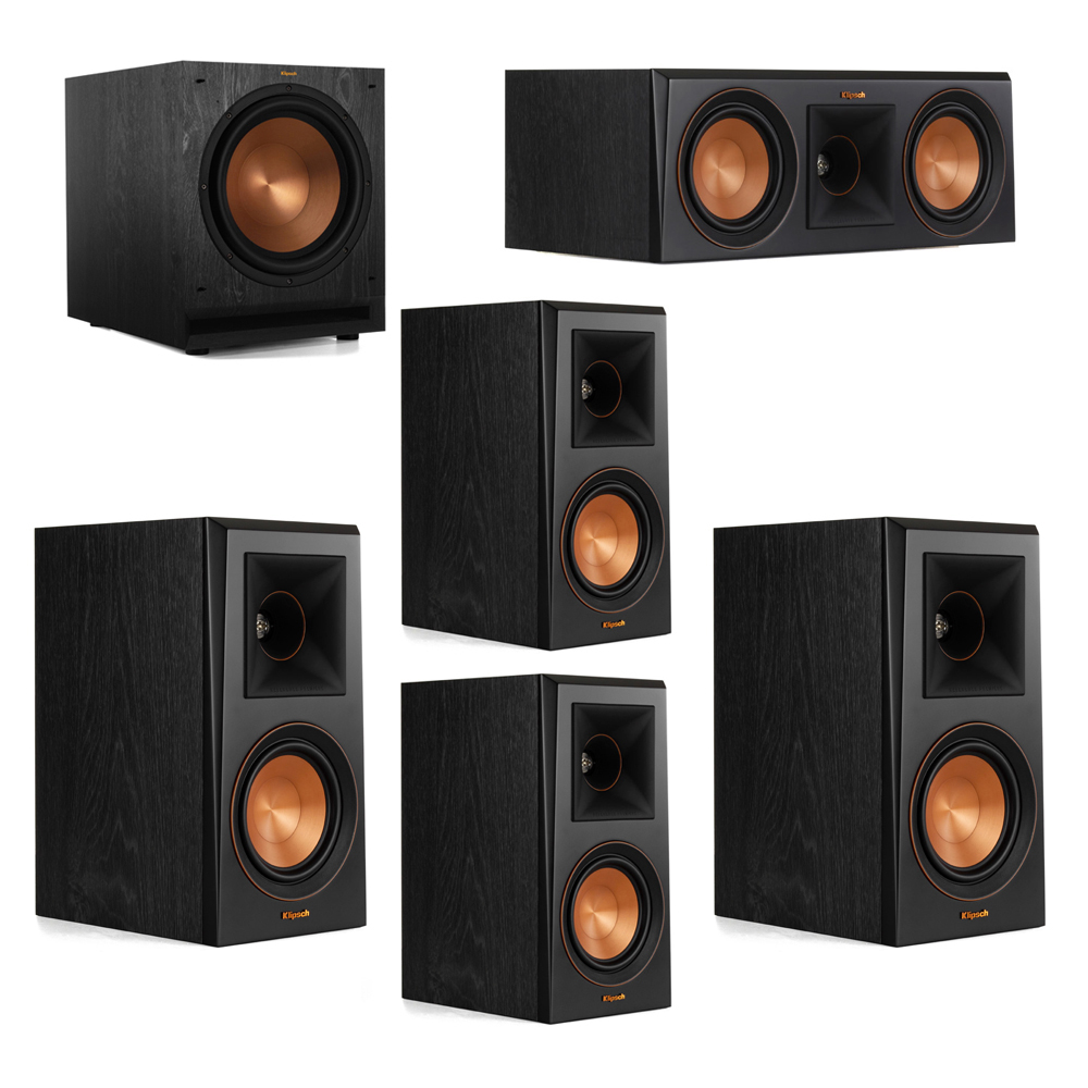 Klipsch 5.1 System with 2 RP-500M Bookshelf Speakers, 1 Klipsch RP-500C Center Speaker, 2 Klipsch RP-500M Surround Speakers, 1 Klipsch SPL-120 Subwoofer
