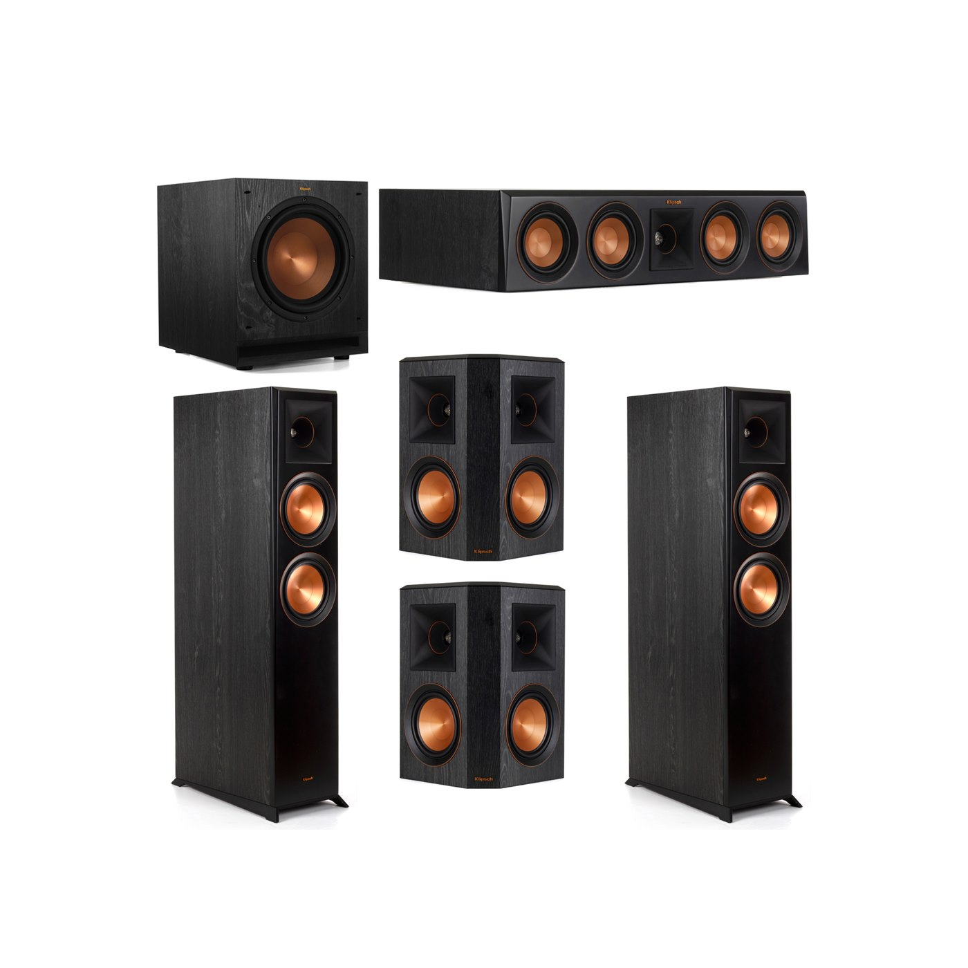 Klipsch 5.1 System with 2 RP-6000F Floorstanding Speakers, 1 Klipsch RP-404C Center Speaker, 2 Klipsch RP-502S Surround Speakers, 1 Klipsch SPL-100 Subwoofer