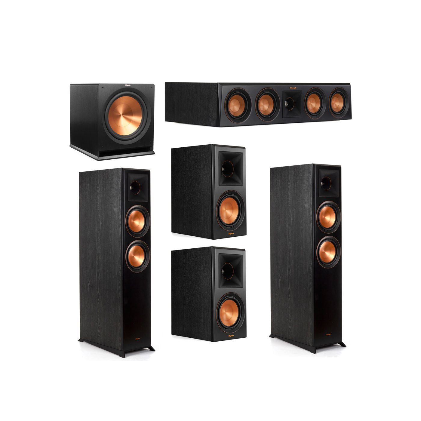 Klipsch 5.1 System with 2 RP-6000F Floorstanding Speakers, 1 Klipsch RP-404C Center Speaker, 2 Klipsch RP-600M Surround Speakers, 1 Klipsch R-115SW Subwoofer