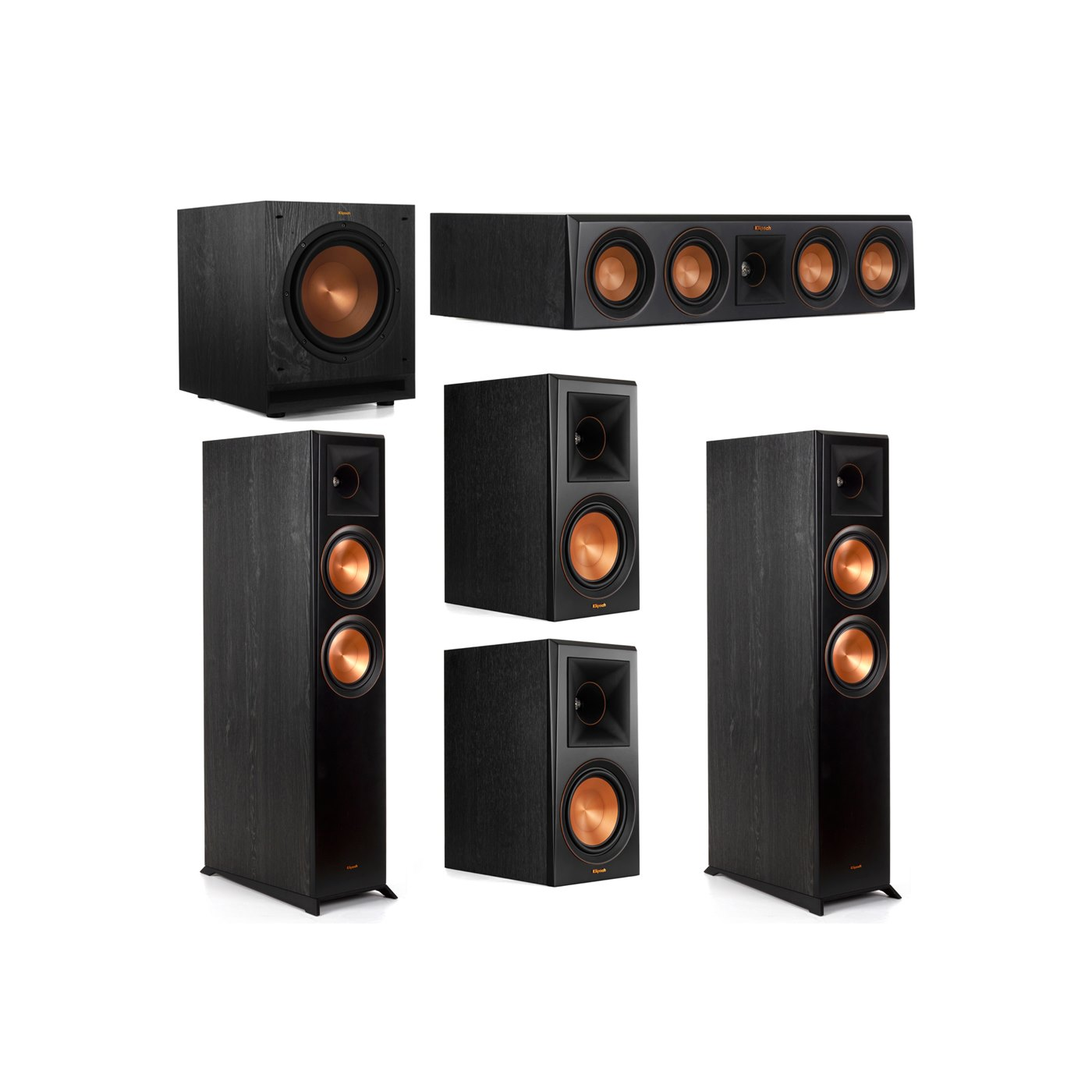 Klipsch 5.1 System with 2 RP-6000F Floorstanding Speakers, 1 Klipsch RP-404C Center Speaker, 2 Klipsch RP-600M Surround Speakers, 1 Klipsch SPL-100 Subwoofer