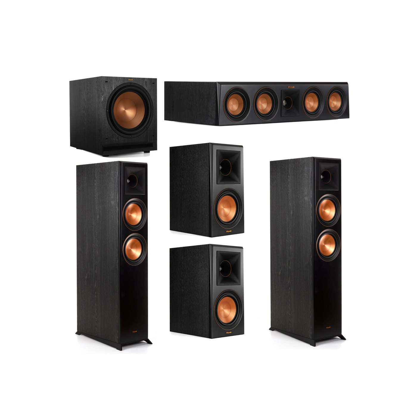 Klipsch 5.1 System with 2 RP-6000F Floorstanding Speakers, 1 Klipsch RP-404C Center Speaker, 2 Klipsch RP-600M Surround Speakers, 1 Klipsch SPL-120 Subwoofer
