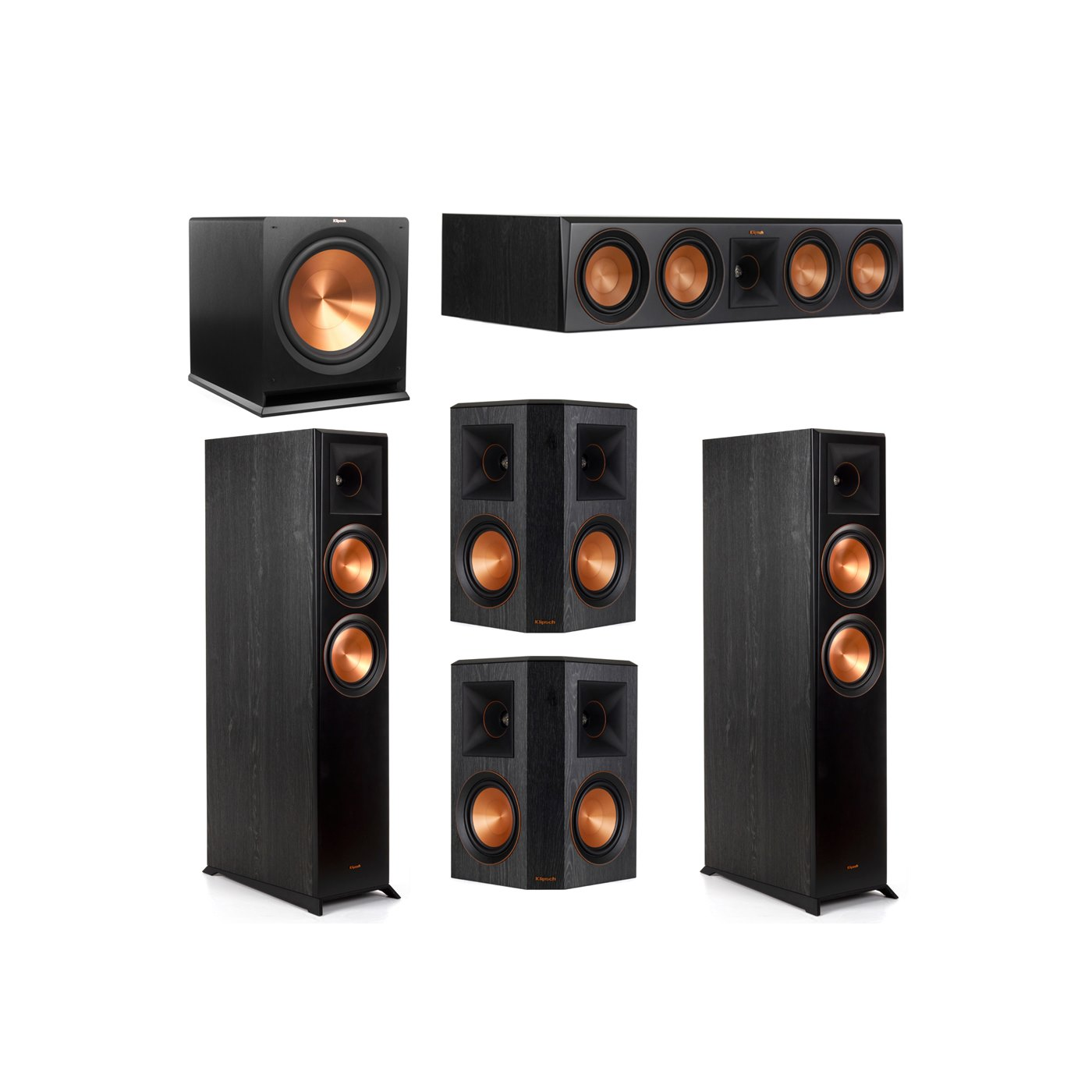 Klipsch 5.1 System with 2 RP-6000F Floorstanding Speakers, 1 Klipsch RP-504C Center Speaker, 2 Klipsch RP-502S Surround Speakers, 1 Klipsch R-115SW Subwoofer
