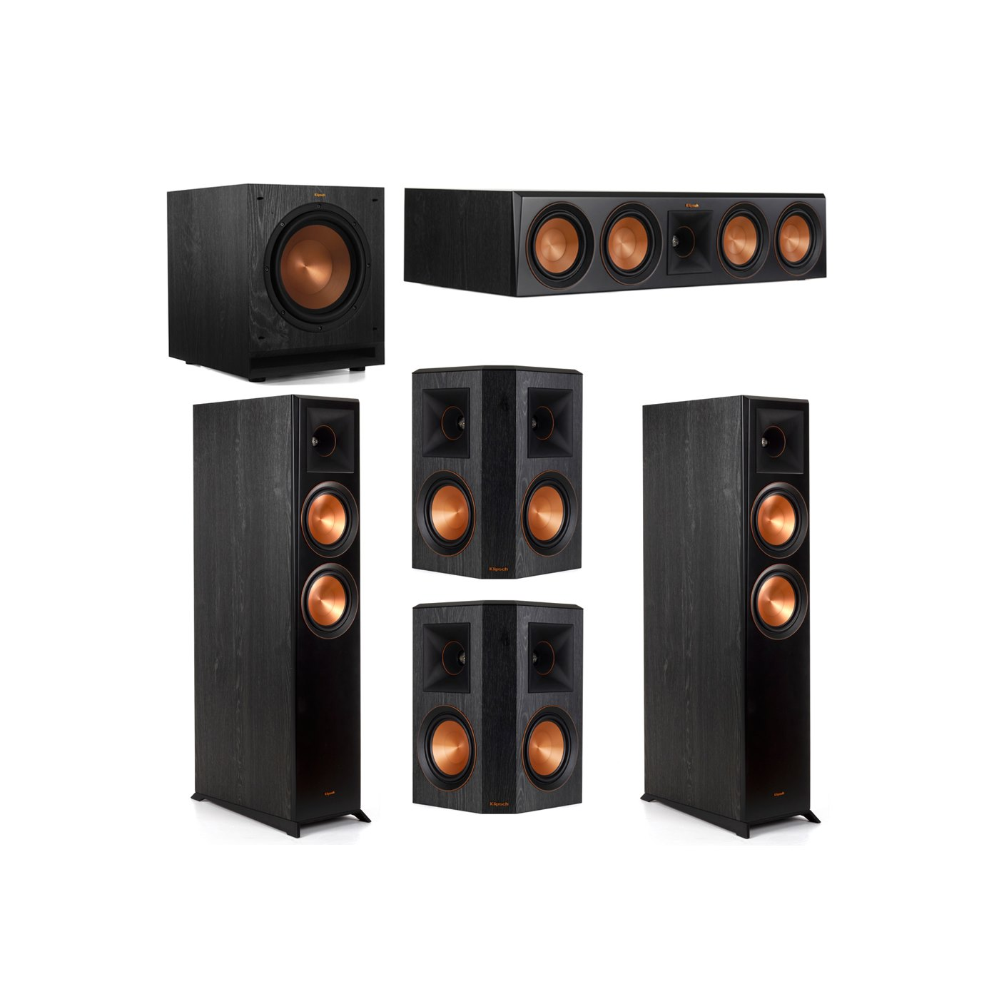 Klipsch 5.1 System with 2 RP-6000F Floorstanding Speakers, 1 Klipsch RP-504C Center Speaker, 2 Klipsch RP-502S Surround Speakers, 1 Klipsch SPL-100 Subwoofer